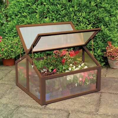 Double Box Garden Wooden Green House  Raised Plants Bed Protection Cold Fram New