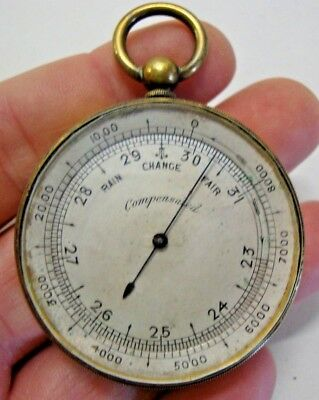 Early 20th century brass cased pocket barometer