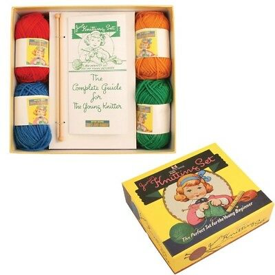 Retro Junior Knitting Set with Instructions - Kids  Girls Craft Activity Toy