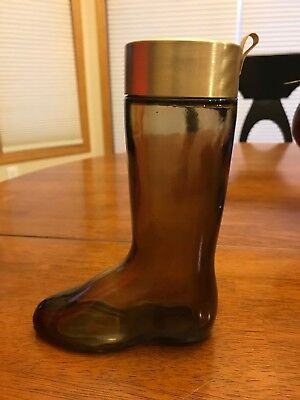 Avon Brown Glass Boot- Leather Cologne Bottle/ Decanter- Gold Metal Lid - Empty