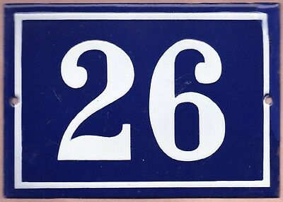 Large old blue French house number 26 door gate plate plaque enamel metal sign