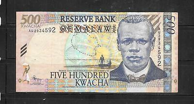 MALAWI #56b 2011 500 KWCHA VF CIRC BANKNOTE PAPER MONEY CURRENCY BILL NOTE