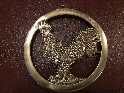 "Vintage Brass ""Rooster"" Trivet Hot Plate - Handcrafted - Good Condition"