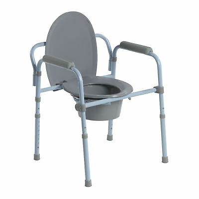 Drive Medical Folding Adjustable Steel Frame Commode with Armrests and Lid, Gray