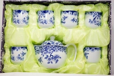 Chinese Blue and White Flower Tea Cup Set Tea Pot w/ Strainer and 6 Cups