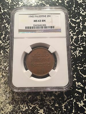 1945 Palestine 2 Mils NGC MS63 Brown Lot#G217 Choice UNC! Better Date!