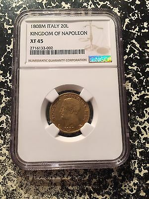 1808-M Italy Kingdom of Napoleon 20 Lire NGC XF45 Lot#G191 Nice Gold Piece!