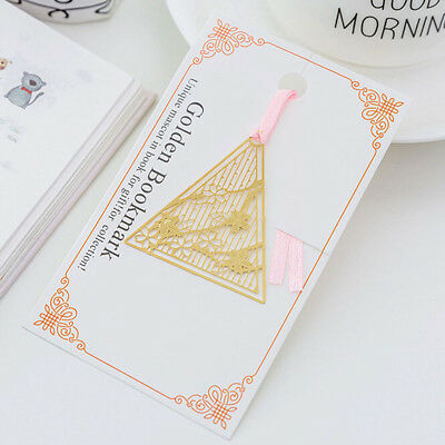 Triangle Japanese Sakura Bookmark Hollow Out Copper Metal Stationery Gift S