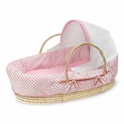 Fabric Canopy Natural Moses Basket in Pink Polka Dot