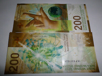 Switzerland New 200 Francs Banknote Made In 2016 Issued In 2018