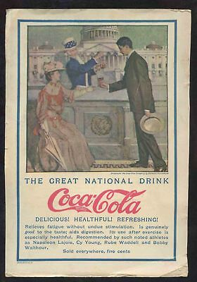 1907 Coca Cola Ad The Great Nat'l Drink Showing Uncle Sam Taking It From His Tap