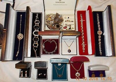 Job Lot of Vintage & Modern Jewellery Inc. 9ct Gold, 925 Sterling Silver & Onyx