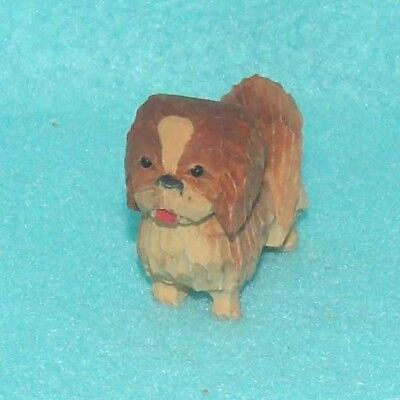 Vintage Carved Wooden Pekinese Dog Miniature
