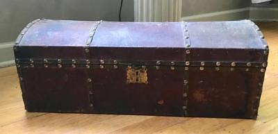 """Antique Leather Covered Wood Hump Back Trunk Doll Or Childs ~25"""" Long Brass"""