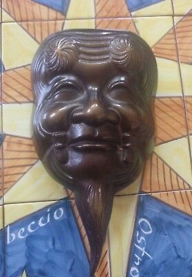 Japanese Mask, Iron Mask, Noh Mask, Elderly Man Mask, Protection Charm, Kojo Mas