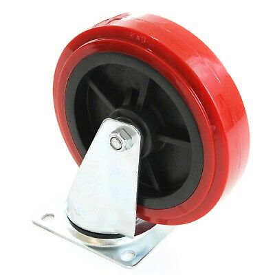 """1 Heavy Duty Caster Huge 8"""" Wheel Large Red All Swivel Non Skid No Mark"""