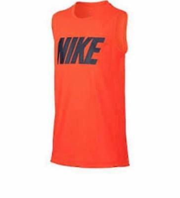 b59e8b6a42df2 NEW Nike Boys Orange Blue Dri-Fit Muscle Shirt Active Tank Top Size Large