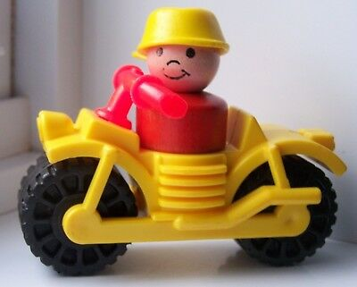 Vintage Fisher Price Little People WOODEN BOY YELLOW PAN HAT & CAMPER MOTORCYCLE