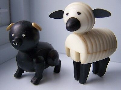 Vintage Fisher Price Little People BARN YARD ANIMALS BLACK PIG AND WHITE SHEEP