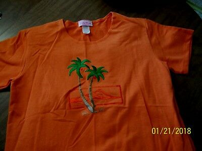 Nw0T Ladies 2 Pc Orange Summer Outfit Size Small