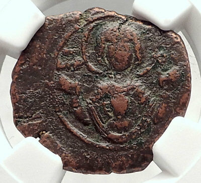 ANDRONICUS I Comnenus 1183AD Ancient Byzantine Coin MARY Baby CHRIST NGC i73127