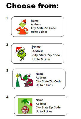 30 Grinch Personalized Address Labels Christmas