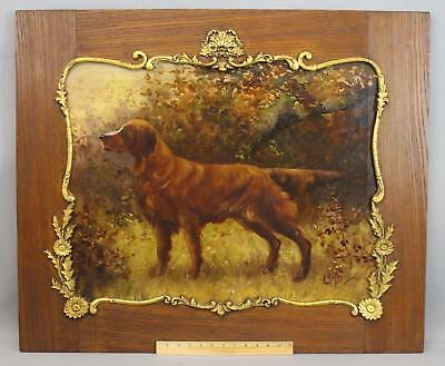 19thC Antique CLARENCE BRALEY Irish Setter Hunting Dog Oil Painting w/ Oak Frame