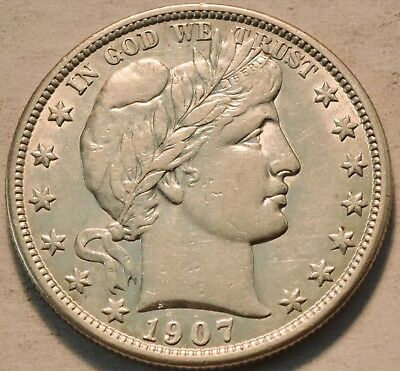1907 D Barber Half Dollar, Higher Grade Details LIBERTY Silver 50C, Scarce Type