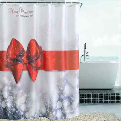 """Waterproof  Fabric Shower Curtain Red Bow Bathroom Home Decor Polyester 72"""""""
