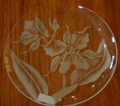 Etched Glass  - Orchid Plate- By Frank Oda