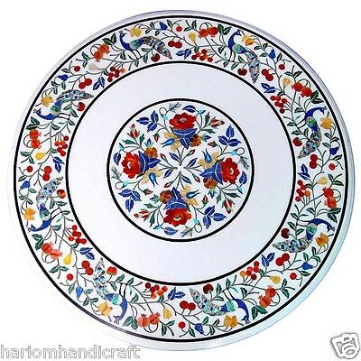 """24"""" White Marble Round Center Side Table Top Rare Gems Inlay Marquetry Art H1644"""
