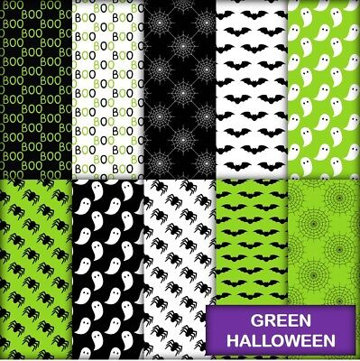 GREEN HALLOWEEN SCRAPBOOK PAPER - 10 x A4 pages