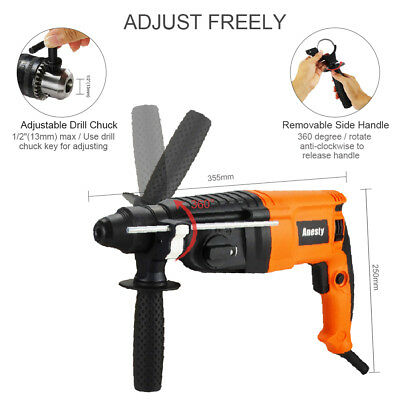 Electric Rotary Hammer Drill with SDS Plus +  13mm Key Chuck + Bits & Chisel Set