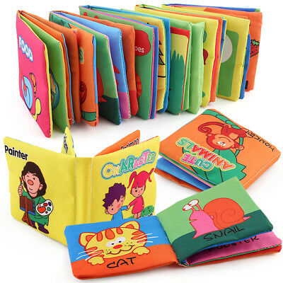 Kids Baby Anti-Tear Soft Cloth Fabric Fruit Cognize Book Educational Book Sound