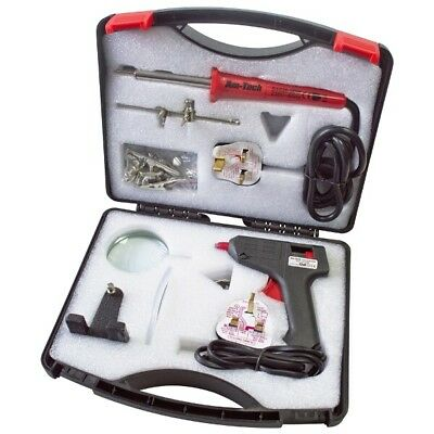 Am-Tech Electric Soldering Tool Kit 30W Iron 10W Glue Gun With Magnifier