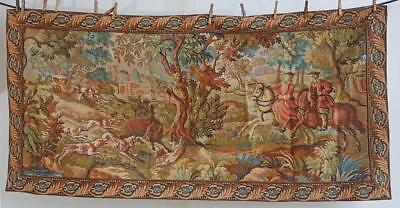 "Large French Verdure Style Hunting Tapestry 62"" X 31"" Wall Hanging 1575mm x780mm"