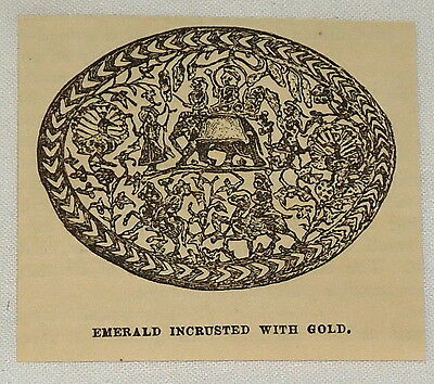 small 1881 magazine engraving ~ EMERALD INCRUSTED WITH GOLD