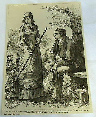 1882 magazine engraving ~ THE OAK CABINET, woman & man outside in garden