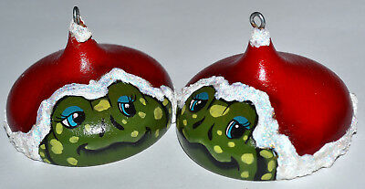 2  Handcrafted Artist Signed Wood Frog Christmas Ornament, Wearing A Santa Hat