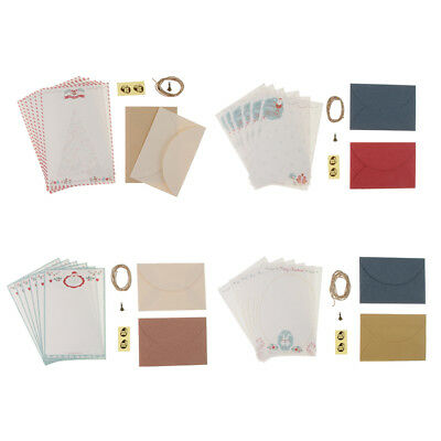 10pcs Christmas Envelopes and Writing Stationery Paper Sheets with Stickers