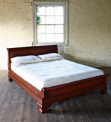 "Solid Mahogany Sleigh Bed 4' 6"" Double Size French New Low Foot Board New"