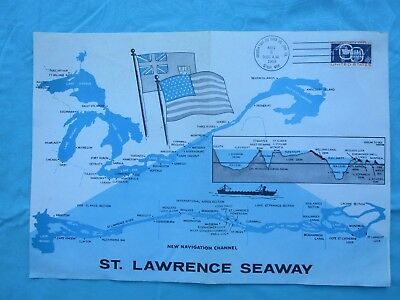 1959 St. Lawrence Seaway,LARGE MAP 1st day of issue Stamp ADVERTISING Document!