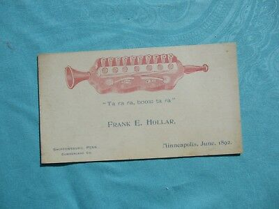 1892 GRAPHIC INSTRUMENT Frank Hollar Shippensburg,Penna.,Minneapolis,OWNED Card!