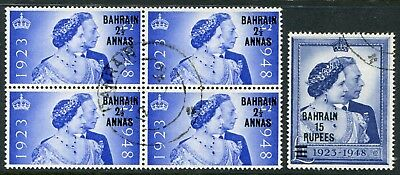 Bahrain 1948 Silver Wedding SG 61-62 with 2½a/2½d in block of 4 used (cat. £61)