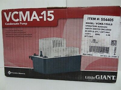 Little Giant VCMA-15ULS Automatic Condensate Removal Pump w/Safety Switch 1/50HP