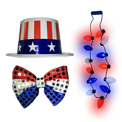 e3e20fd45aa Light Up 4th of July Necklace Red White Blue Top Hat Patriotic Bow Tie  Costume