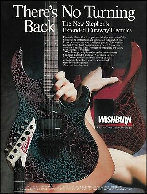 Washburn Stephen's Extended Cutaway electric guitar 1988 ad 8 x 11 advertisement