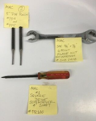 MAC TOOLS ASSORTED LOT OF 4 PART #'s PR100, PP4, PP5, OHB2428 PRE-OWNED