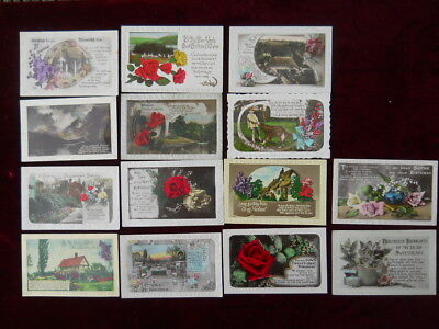Lot of 14 Attractive Vintage Greetings Postcards - Good, clean condition