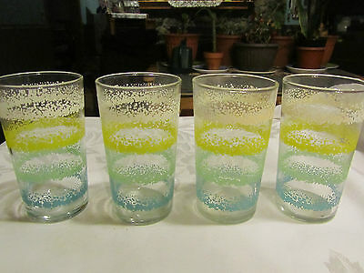 """Lot of 4 vintage glasses green yellow white 4.5"""" in height Libbey ? MGT"""